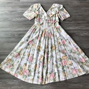 VINTAGE LANZ FLORAL PASTEL SHORT SLEEVE MIDI DRESS